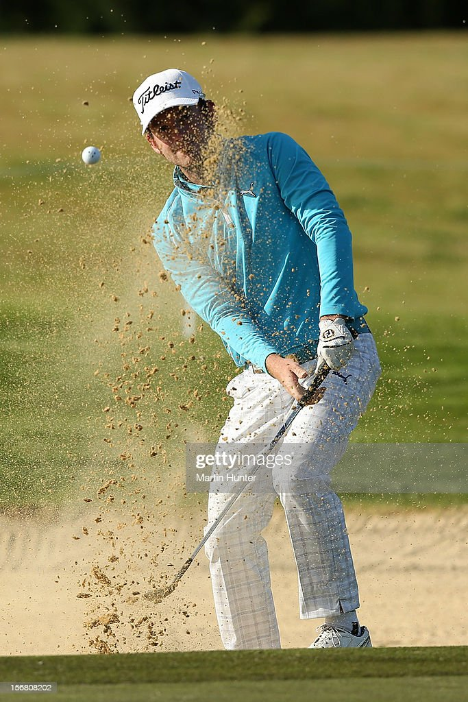 Josh Geary of New Zealand hits a shot during day one of the New Zealand Open at Clearwater Golf Course on November 22, 2012 in Christchurch, New Zealand.