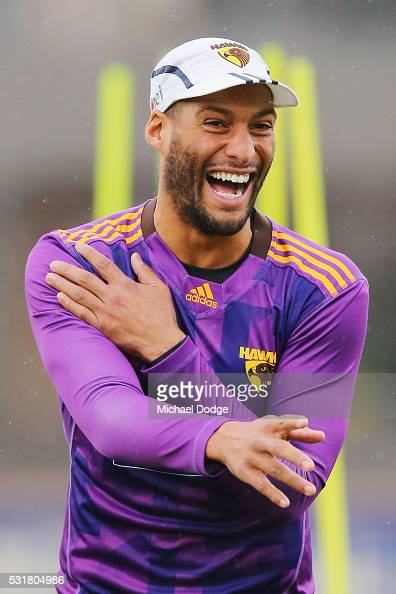 Josh Gibson of the Hawks reacts during a Hawthorn Hawks AFL training session at Waverley Park on May 17 2016 in Melbourne Australia