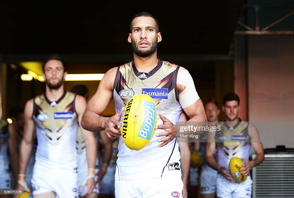 Josh Gibson of the Hawks takes to the field during the round six AFL match between the Greater Western Sydney Giants and the Hawthorn Hawks at Spotless Stadium on April 30, 2016 in Sydney, Australia.