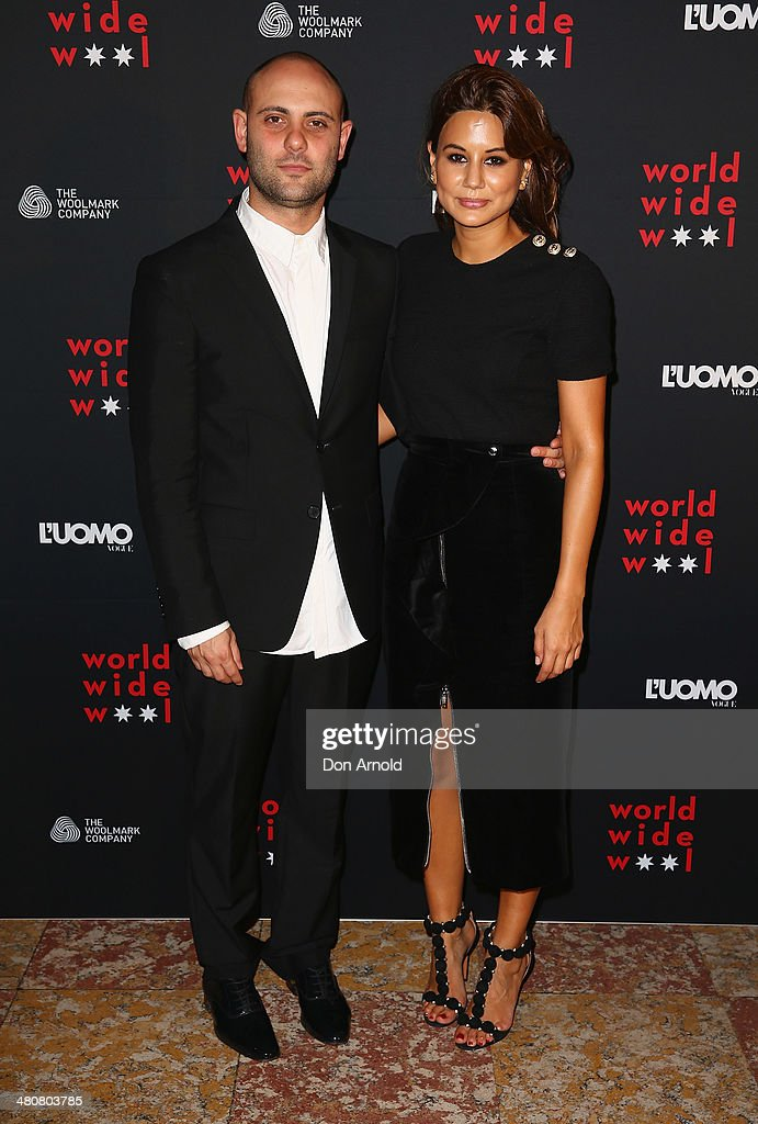 Josh Goot and Christine Centenera arrive at the L'Uomo Vogue and Woolmark Company Gala and Exhibition to celebrate L'Uomo Vogue magazine's March...
