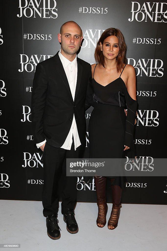 Josh Goot and Christine Centenera arrives ahead of the David Jones Spring/Summer 2015 Fashion Launch at David Jones Elizabeth Street Store on August...