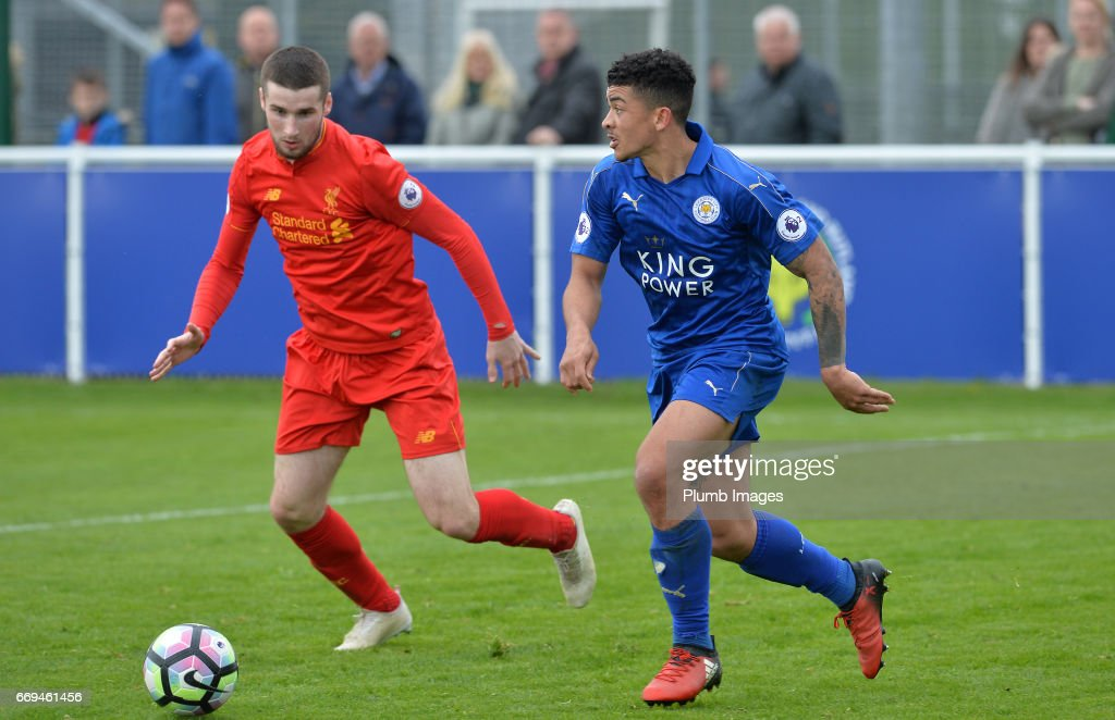 Josh Gordon of Leicester City against Corey Whelan of Liverpool during the game between Leicester City and Liverpool: Premier League 2 match at Holmes Park on April 17 2017 in Leicester, United Kingdom