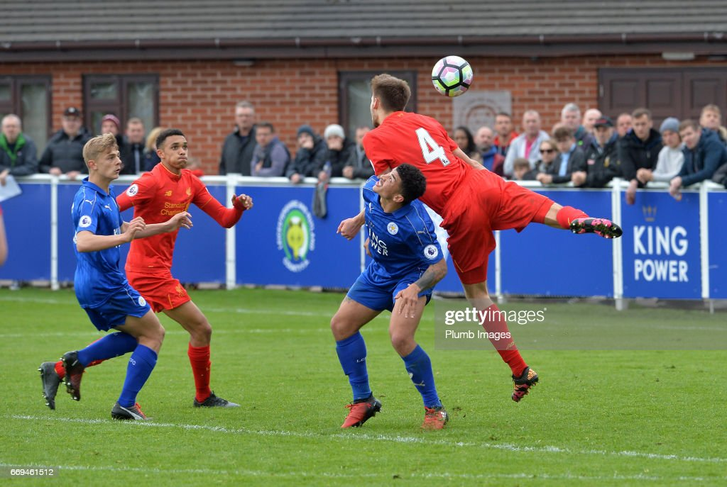 Josh Gordon of Leicester City against Nat Phillips of Liverpool during the game between Leicester City and Liverpool: Premier League 2 match at Holmes Park on April 17 2017 in Leicester, United Kingdom