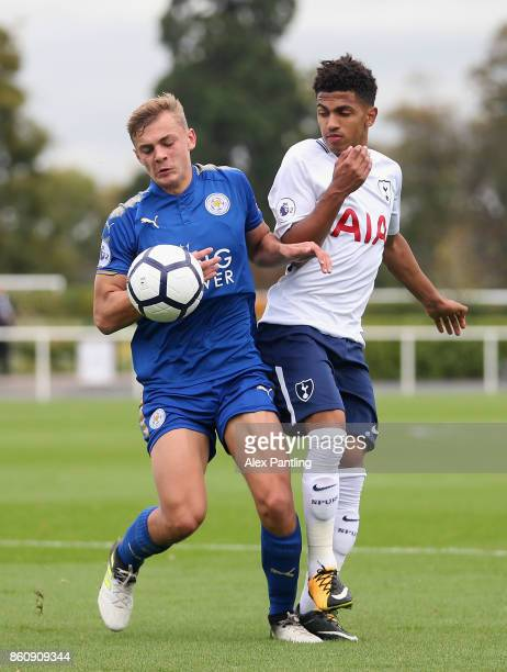 Josh Gordon of Leicester City and Marcus Edwards of Tottenham Hotspur clash during the Premier League 2 match between Tottenham Hotspur and Leicester...
