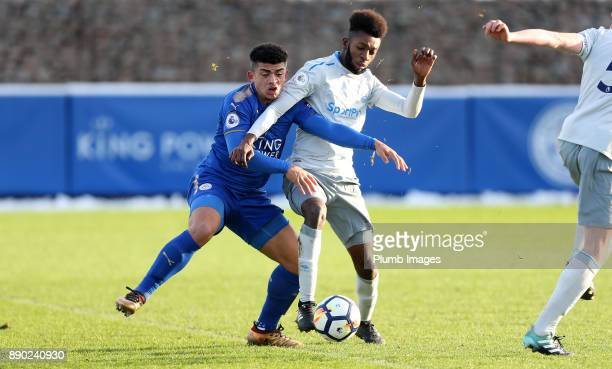 Josh Gordon of Leicester City in action with Beni Baningime of Everton during the Premier League 2 match between Leicester City and Everton at...