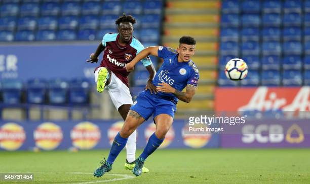 Josh Gordon of Leicester City in action with Domingos Quina of West Ham United during the Premier League 2 match between Leicester City and West Ham...