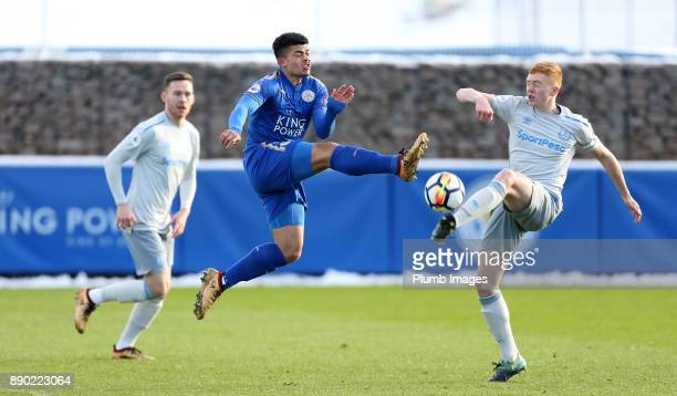 Josh Gordon of Leicester City in action with Morgan Feeney of Everton during the Premier League 2 match between Leicester City and Everton at Belvoir...
