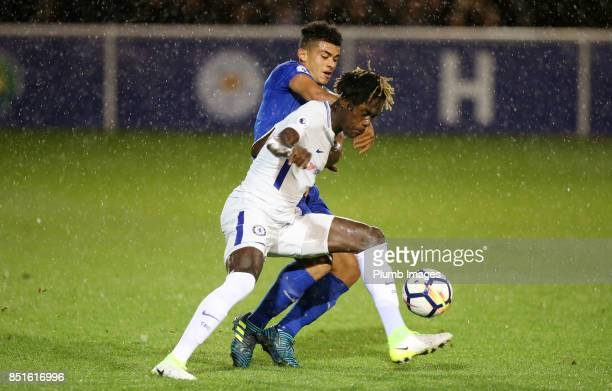 Josh Gordon of Leicester City in action with Trevoh Chalobah of Chelsea during the Premier League 2 match between Leicester City and Chelsea at...