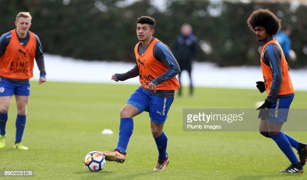 Josh Gordon of Leicester City warmsup ahead of the Premier League 2 match between Leicester City and Everton at Belvoir Drive Training Ground on...