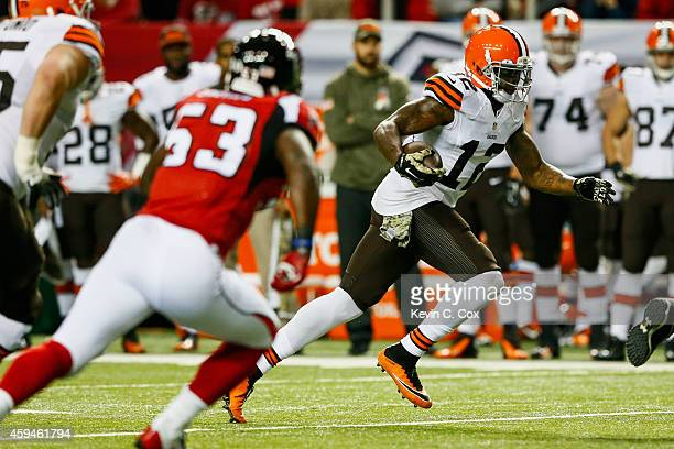 Josh Gordon of the Cleveland Browns runs after a catch in the first half against the Atlanta Falcons at Georgia Dome on November 23 2014 in Atlanta...