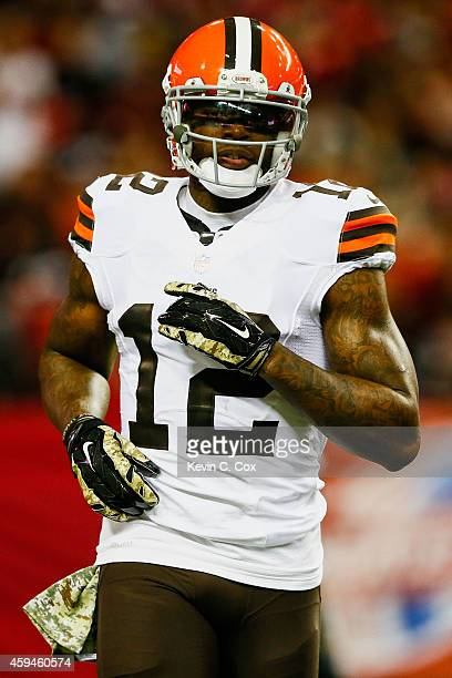 Josh Gordon of the Cleveland Browns runs on the field in the first half against the Atlanta Falcons at Georgia Dome on November 23 2014 in Atlanta...