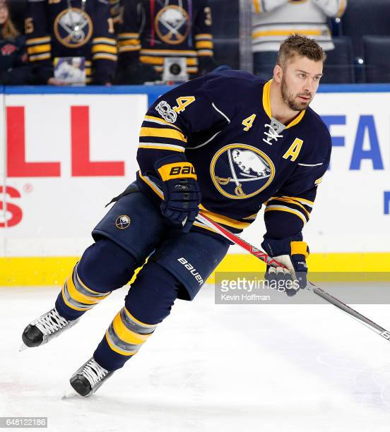 Josh Gorges of the Buffalo Sabres before the game against the Arizona Coyotes at the KeyBank Center on March 2 2017 in Buffalo New York Sabres beat...
