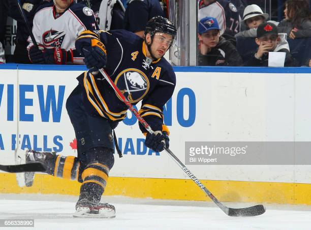 Josh Gorges of the Buffalo Sabres shoots the puck during an NHL game against the Columbus Blue Jackets at the KeyBank Center on March 11 2017 in...