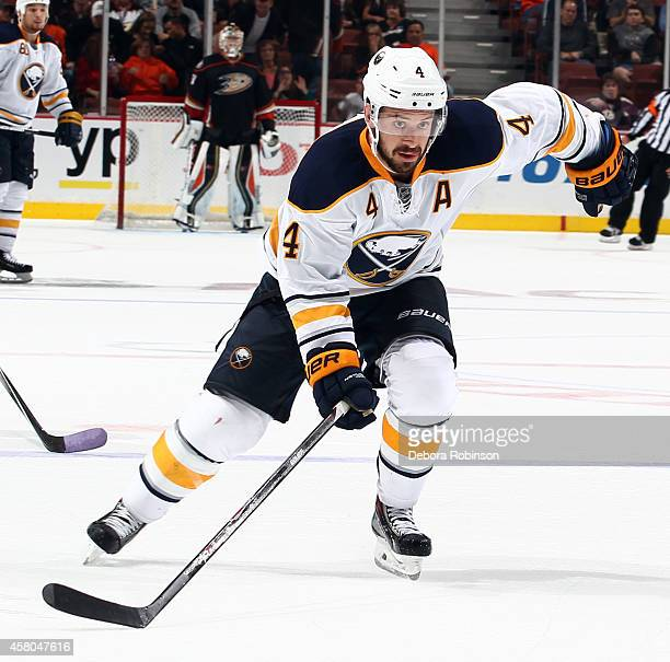 Josh Gorges of the Buffalo Sabres skates against the Anaheim Ducks on October 22 2014 at Honda Center in Anaheim California
