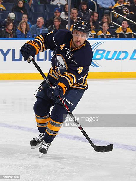 Josh Gorges of the Buffalo Sabres skates against the Boston Bruins on October 30 2014 at the First Niagara Center in Buffalo New York