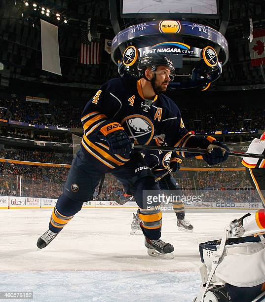 Josh Gorges of the Buffalo Sabres skates against the Calgary Flames on December 11 2014 at the First Niagara Center in Buffalo New York