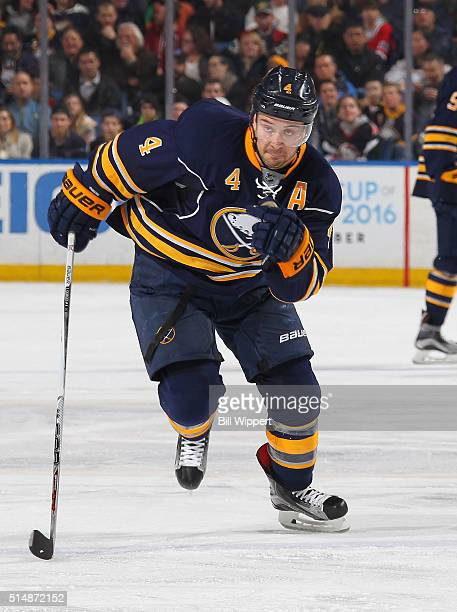 Josh Gorges of the Buffalo Sabres skates against the Minnesota Wild during an NHL game on March 5 2016 at the First Niagara Center in Buffalo New York
