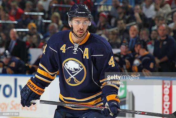 Josh Gorges of the Buffalo Sabres skates against the Montreal Canadiens on November 5 2014 at the First Niagara Center in Buffalo New York