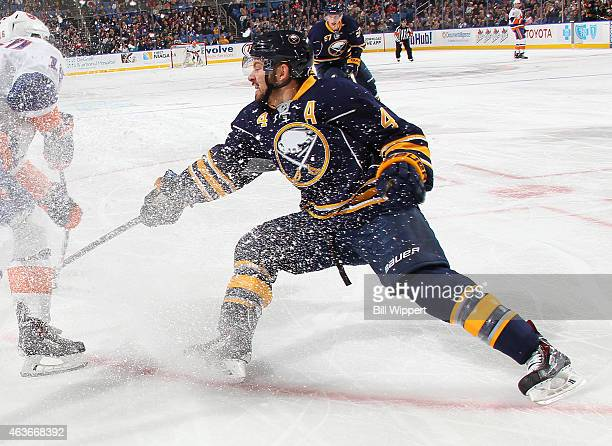 Josh Gorges of the Buffalo Sabres skates against the New York Islanders on February 8 2015 at the First Niagara Center in Buffalo New York