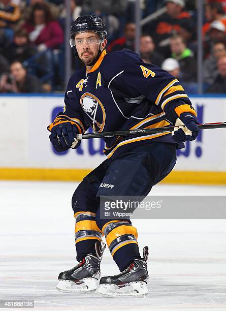 Josh Gorges of the Buffalo Sabres skates against the Philadelphia Flyers on January 17 2015 at the First Niagara Center in Buffalo New York