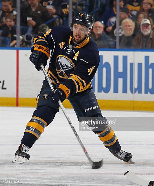Josh Gorges of the Buffalo Sabres skates against the Philadelphia Flyers during an NHL game on October 30 2015 at the First Niagara Center in Buffalo...