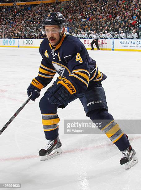 Josh Gorges of the Buffalo Sabres skates against the San Jose Sharks during an NHL game on November 14 2015 at the First Niagara Center in Buffalo...