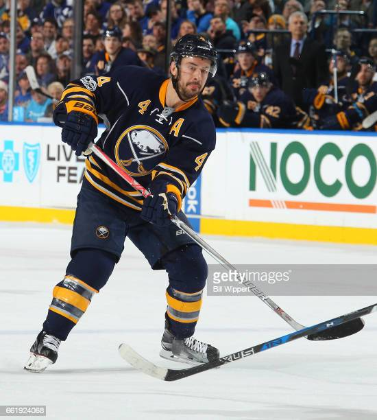 Josh Gorges of the Buffalo Sabres skates against the Toronto Maple Leafs during an NHL game at the KeyBank Center on March 25 2017 in Buffalo New York