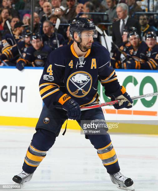 Josh Gorges of the Buffalo Sabres skates 'nagainst the Philadelphia Flyers during an NHL game at the KeyBank Center on March 7 2017 in Buffalo New...