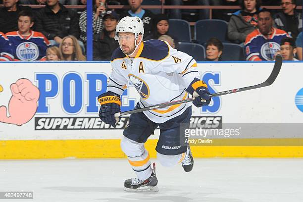 Josh Gorges of the Buffalo Sabres skates on the ice during the game against the Edmonton Oilers on January 29 2015 at Rexall Place in Edmonton...