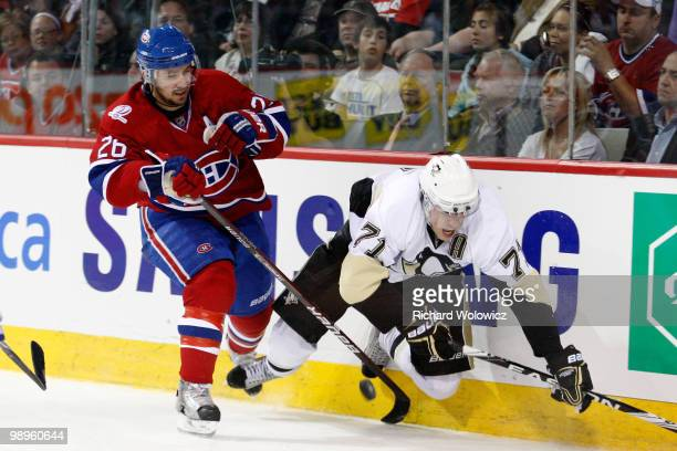 Josh Gorges of the Montreal Canadiens body checks Evgeni Malkin of the Pittsburgh Penguins in Game Six of the Eastern Conference Semifinals during...