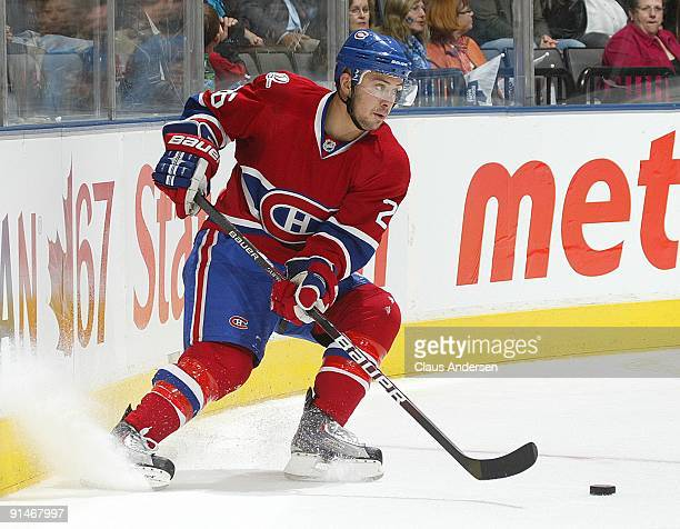 Josh Gorges of the Montreal Canadiens handles the puck in a game against the Toronto Maple Leafs on October 1 2009 at the Air Canada Centre in...