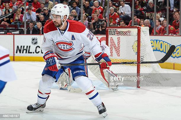 Josh Gorges of the Montreal Canadiens looks up the ice during the NHL game against the Chicago Blackhawks on April 9 2014 at the United Center in...