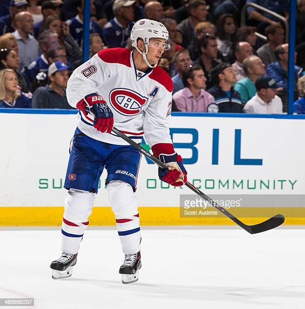 Josh Gorges of the Montreal Canadiens skates against the Tampa Bay Lightning in Game One of the First Round of the 2014 Stanley Cup Playoffs at the...