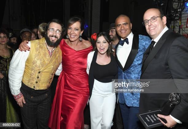 Josh Groban Allison Janney Rachel Bloom Christopher Jackson and Christopher Ashley attend the 2017 Tony Awards at Radio City Music Hall on June 11...