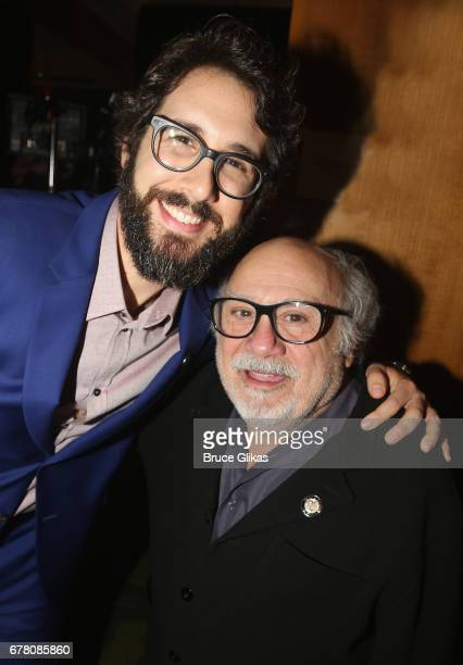 Josh Groban and Danny DeVito pose at The 71st Annual Tony Awards Meet the Nominees Press Junket at Sofitel Hotel on May 3 2017 in New York City