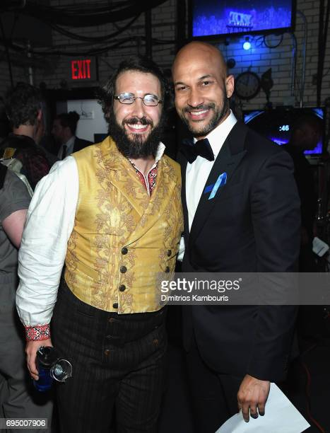 Josh Groban and KeeganMichael Key attend the 2017 Tony Awards at Radio City Music Hall on June 11 2017 in New York City