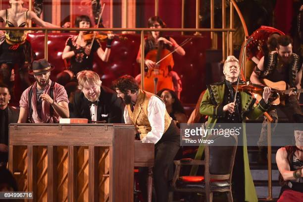 Josh Groban and Lucas Steele perform onstage with the cast of 'Natasha Pierre and The Great Comet of 1812' onstage during the 2017 Tony Awards at...