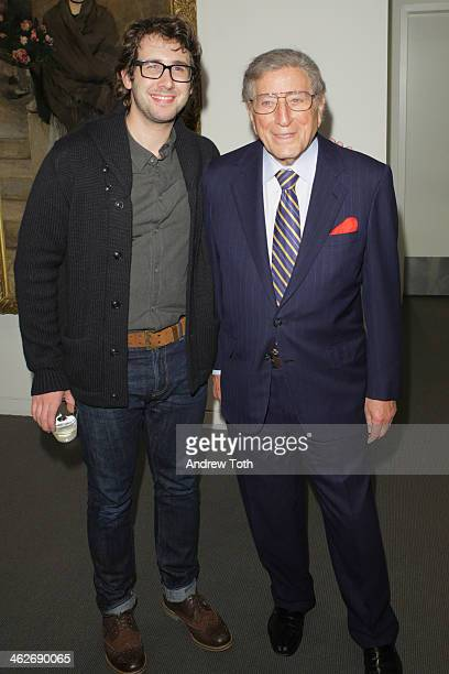 Josh Groban and Tony Bennett attend the 'Summer In February' premiere at Sotheby's on January 14 2014 in New York City