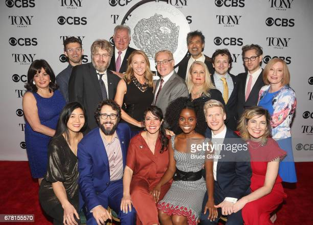 Josh Groban Denee Benton and the cast of 'Natasha Pierre and the Great Comet' pose at The 71st Annual Tony Awards Meet the Nominees Press Junket at...