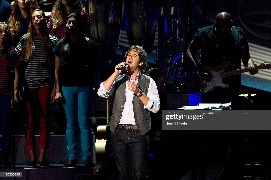 <a gi-track='captionPersonalityLinkClicked' href=/galleries/search?phrase=Josh+Groban&family=editorial&specificpeople=202917 ng-click='$event.stopPropagation()'>Josh Groban</a> performs onstage at the 'Teachers Rock' benefit event held at Nokia Theatre L.A. Live on August 14, 2012 in Los Angeles, California.