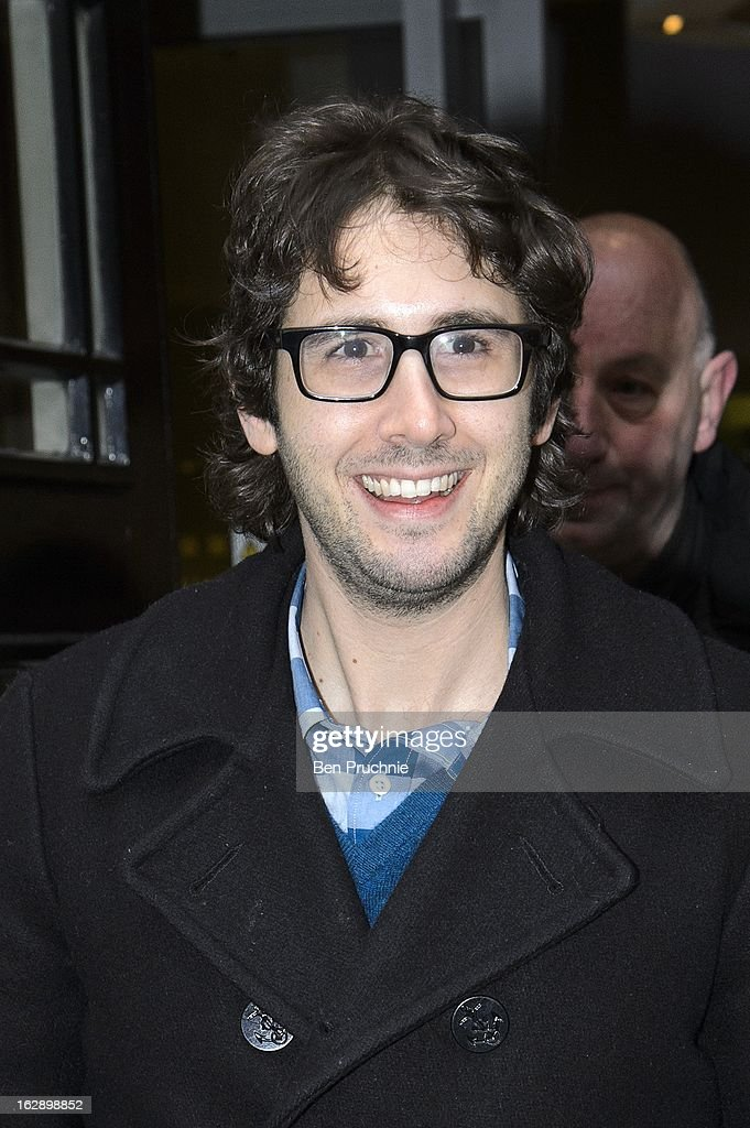 <a gi-track='captionPersonalityLinkClicked' href=/galleries/search?phrase=Josh+Groban&family=editorial&specificpeople=202917 ng-click='$event.stopPropagation()'>Josh Groban</a> sighted departing BBC Radio 2 on March 1, 2013 in London, England.