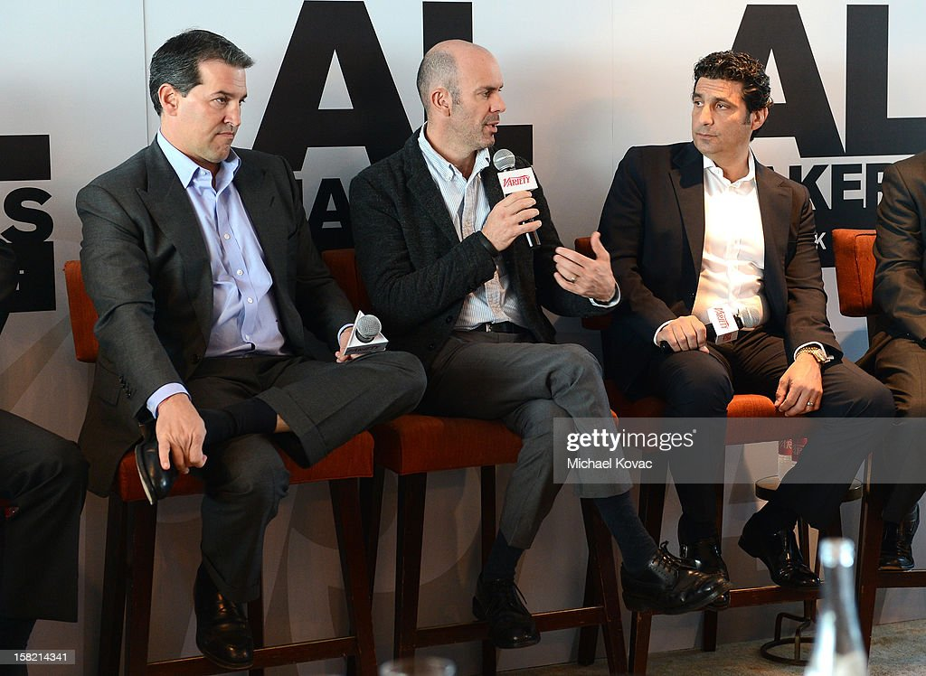 Josh Grode, Partner and Head of Corporate Department, Liner Grode Stein Yankelevitz Sunshine Regenstreif & Taylor LLP, Courtney Holt, COO Maker Studios, and Scott Kiindel, Cheif Corporate Content Licensing Officer,CBS Corporation speak during Variety's Dealmakers Breakfast presented by Bank Of America at Soho House on December 11, 2012 in West Hollywood, California.