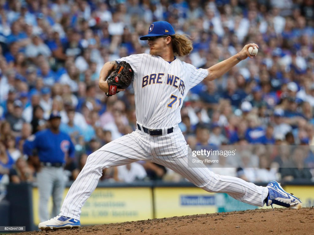 Josh Hader #71 of the Milwaukee Brewers throws a pitch during the fourth inning of a game against the Chicago Cubs at Miller Park on July 29, 2017 in Milwaukee, Wisconsin.