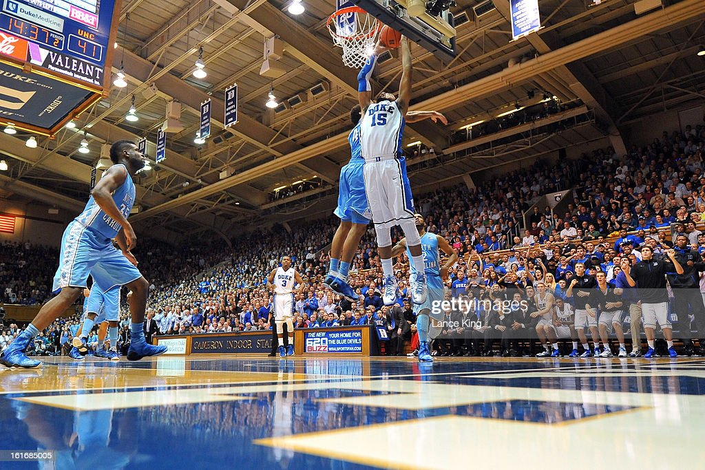 Josh Hairston #15 of the Duke Blue Devils goes to the hoop against James Michael McAdoo #43 of the North Carolina Tar Heels at Cameron Indoor Stadium on February 13, 2013 in Durham, North Carolina. Duke defeated North Carolina 73-68.