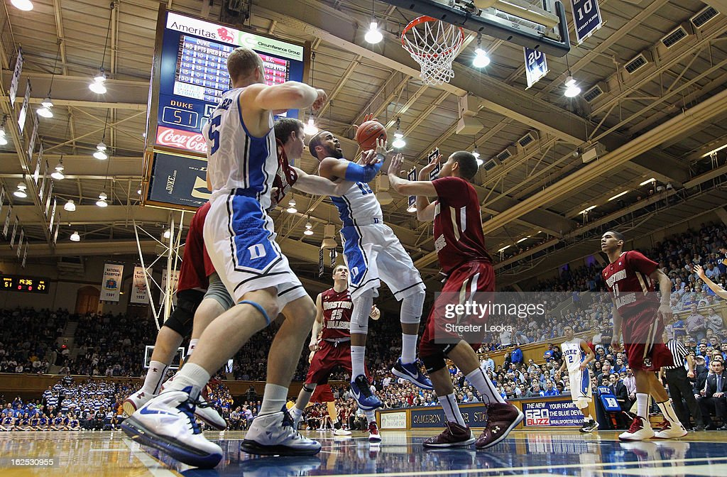 Josh Hairston #15 of the Duke Blue Devils grabs a rebound during their game against the Boston College Eagles at Cameron Indoor Stadium on February 24, 2013 in Durham, North Carolina.