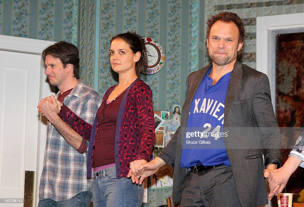 Josh Hamilton, Katie Holmes and Norbert Leo Butz take their curtain call on Opening Night of 'Dead Accounts' on Broadway at The Music Box Theatre on November 29, 2012 in New York City.