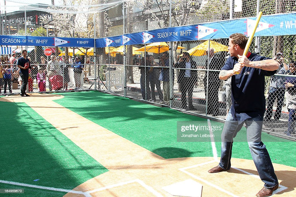 Josh Hamilton of the Los Angeles Angels of Anaheim attends the Head & Shoulders 'Whiff-A-Thon' at The Grove on March 29, 2013 in Los Angeles, California.