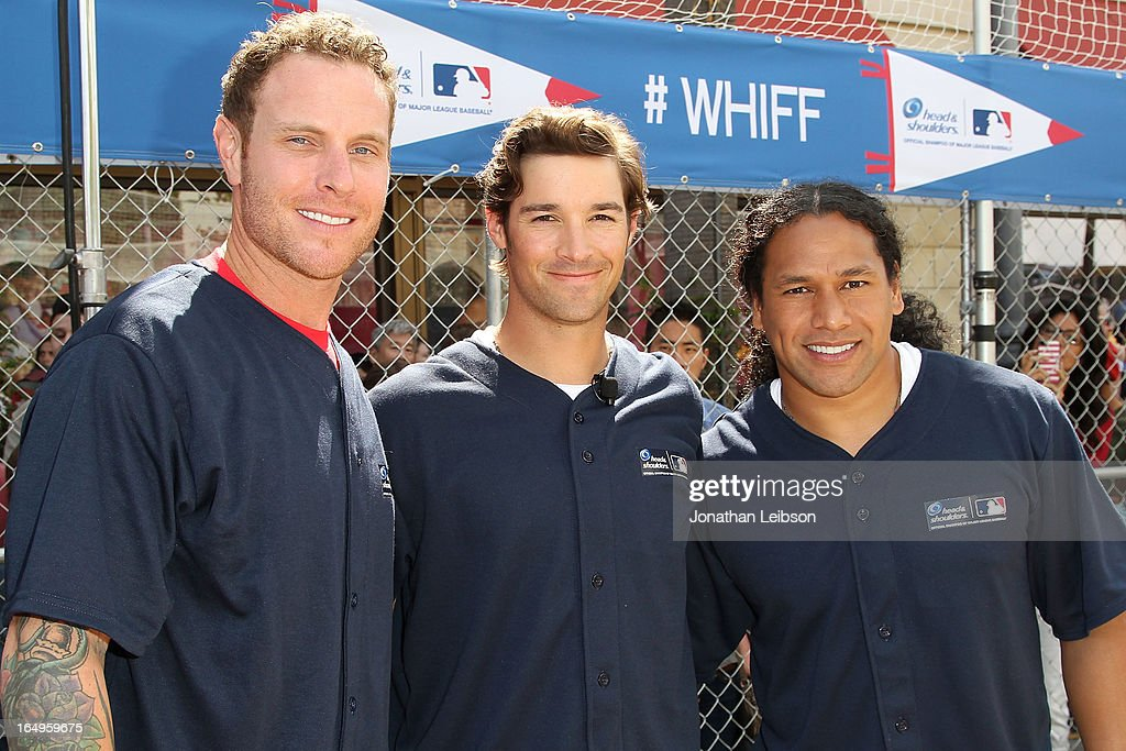Josh Hamilton of the Los Angeles Angels of Anaheim, CJ Wilson of the Los Angeles Angels of Anaheim and <a gi-track='captionPersonalityLinkClicked' href=/galleries/search?phrase=Troy+Polamalu&family=editorial&specificpeople=206488 ng-click='$event.stopPropagation()'>Troy Polamalu</a> of the Pittsburgh Steelers attend the Head & Shoulders 'Whiff-A-Thon' at The Grove on March 29, 2013 in Los Angeles, California.