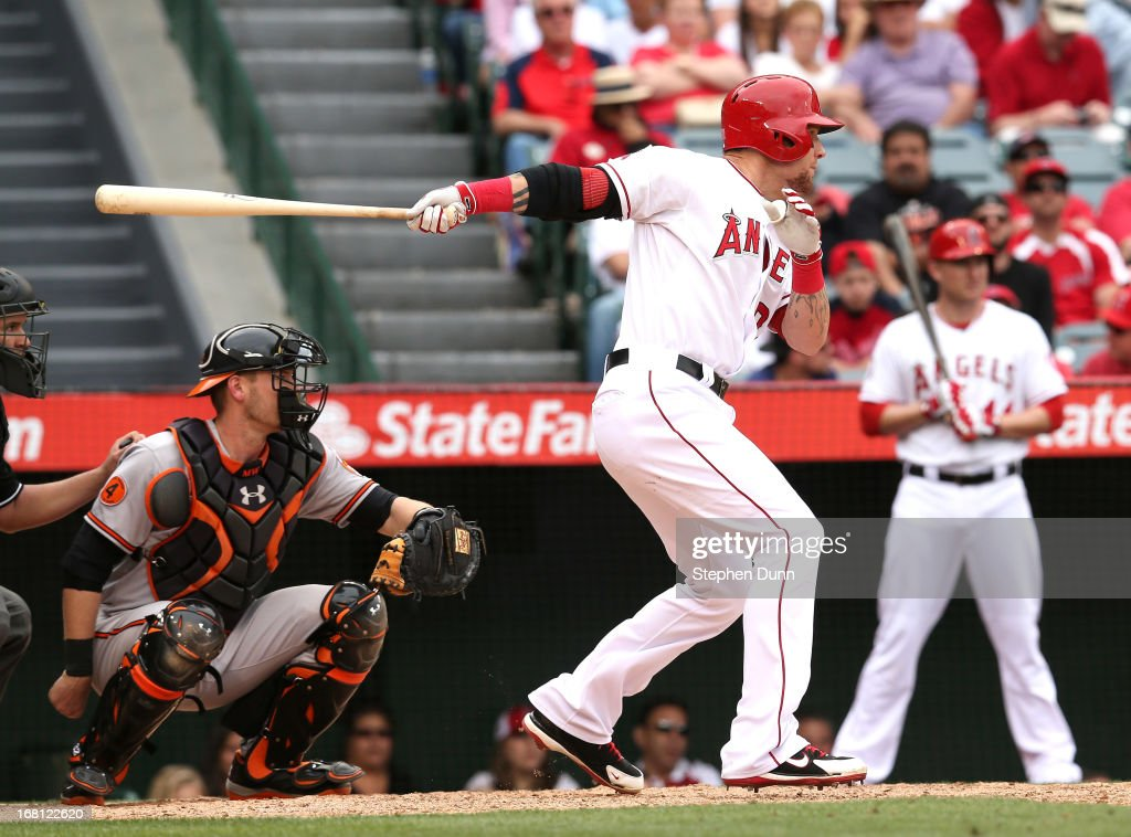 Josh Hamilton #32 of the Los Angeles Angels of Anaheim hits a double in the ninth inning against the Baltimore Orioles at Angel Stadium of Anaheim on May 5, 2013 in Anaheim, California. The Orioles won 8-4.