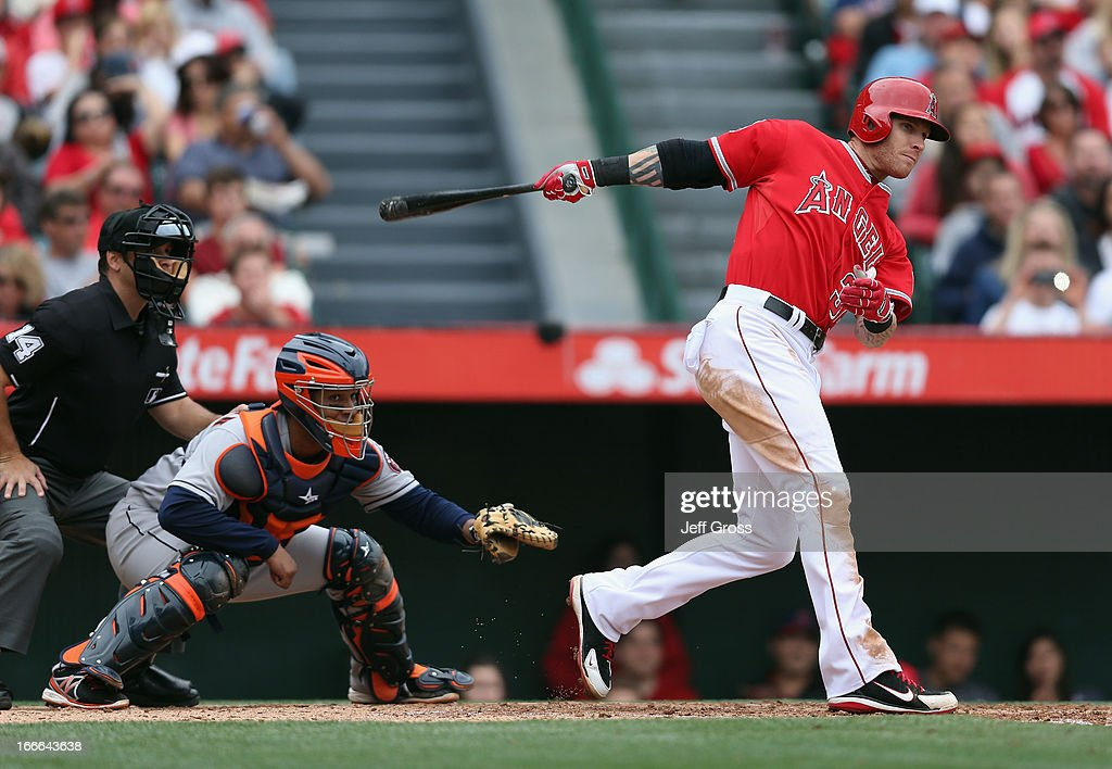 Josh Hamilton #32 of the Los Angeles Angels of Anaheim hits a triple in the third inning against the Houston Astros at Angel Stadium of Anaheim on April 14, 2013 in Anaheim, California. The Angels defeated the Astros 4-1.